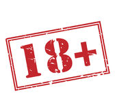 18 plus red stamp. Isolated on white background Stock Photos