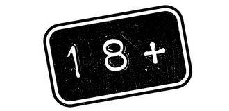 18 plus rubber stamp. On white. Print, impress overprint Royalty Free Stock Photos