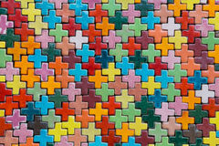 Plus shape pattern tile wall Stock Image