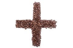 Plus sign of coffee beans, isolated on white background Stock Photography