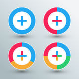 Plus sign icons. Plus sign buttons. Flat colors. Royalty Free Stock Photography
