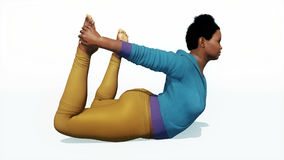 Plus size african woman in bow pose yoga Stock Photos