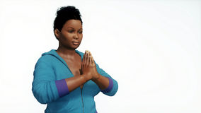 Plus size african woman hands in namaste. Close up view of young attractive and curvy plus size african woman hands in namaste yoga gesture on copy space white Royalty Free Stock Photography