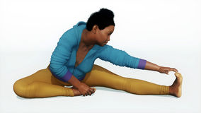Plus size african woman stretching yoga pose Stock Photography
