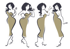 Plus size beauty. Beauty and glamour plus size women images with rich hair vector illustration