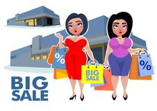 Plus Size Bodies Fashion Concept. With store buildings and fat women holding shopping bags vector illustration Stock Image