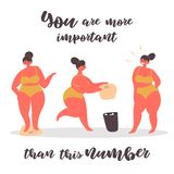 Plus size body positive woman throws away scales. stock illustration