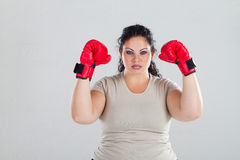 Plus size boxing model Royalty Free Stock Photo