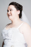 Plus size bride. With hairstyling and makeup studio shot Stock Photos