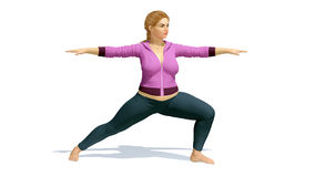 Plus size caucasian woman in warrior yoga pose Royalty Free Stock Photography