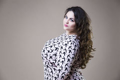 Plus size fashion model in casual clothes, fat woman on studio background, overweight female body Stock Photography