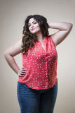Plus size fashion model in casual clothes, fat woman on studio background, overweight female body Stock Image
