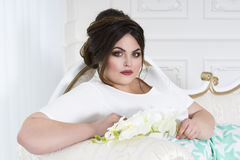 Plus size fashion model, fat woman on luxury interior, overweight female body Stock Photo