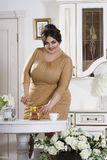 Plus size fashion model on kitchen, fat woman on luxury interior, overweight female body Stock Photos