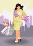 Plus size fashion urban woman with shopping bags Stock Images