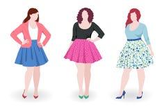 Plus size fashion women. Three beautiful plus size fashion women wearing skirt stock illustration