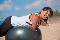 Plus Size Female Exercise Outdoor Royalty Free Stock Image