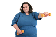 Plus Size Female Exercising Royalty Free Stock Photos