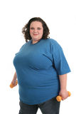 Plus size female get ready to exercise Royalty Free Stock Photography