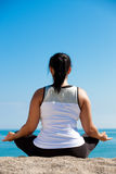 Plus size female practice yoga outdoor Royalty Free Stock Photography