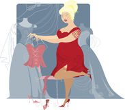 Plus size lady looking for evening dress stock illustration