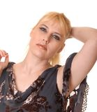 Plus Size Model. Plus size lovely blond girl isolated over white Royalty Free Stock Images