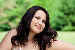 Plus size model. Beautiful plus size model outdoors Royalty Free Stock Photos
