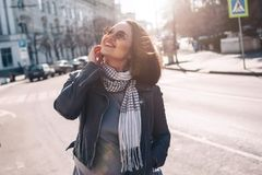 Plus size model on the city street Royalty Free Stock Image