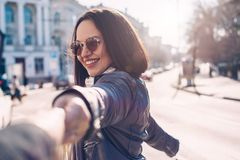Plus size model on the city street Stock Photography