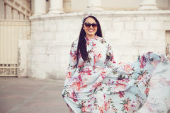 Plus size model in floral dress Stock Photos