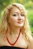 Plus size model girl face. Portrait of young beautiful woman plus size blond woman Royalty Free Stock Photo