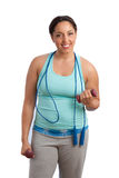 Plus Size Model Holding Exercise Items Stock Photo