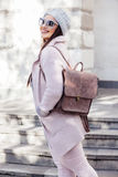 Plus size model in pink coat Royalty Free Stock Photography