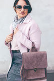 Plus size model in pink coat Royalty Free Stock Photos