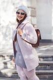 Plus size model in pink coat Stock Image