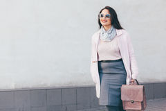 Plus size model in pink coat Royalty Free Stock Image