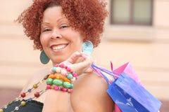 Plus Size Model Shopping, Happy Royalty Free Stock Photos