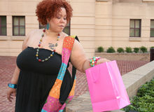 Plus Size Model Shopping, Happy Royalty Free Stock Photos