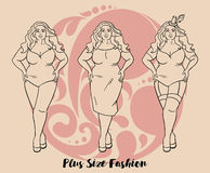 Plus size model in three looks Stock Photography
