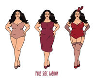 Plus size model in three looks on white background Royalty Free Stock Photo