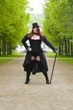 Plus size model wearing fancy dress in Park Stock Photography