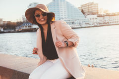 Plus size model wearing fashion clothes in city street Royalty Free Stock Photos