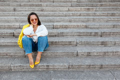 Plus size model wearing fashion clothes Royalty Free Stock Photography