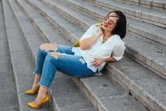 Plus size model wearing fashion clothes Stock Photos