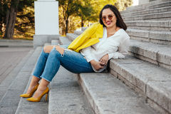 Plus size model wearing fashion clothes Royalty Free Stock Photo