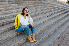 Plus size model wearing fashion clothes Royalty Free Stock Photos