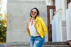 Plus size model wearing fashion clothes Royalty Free Stock Image