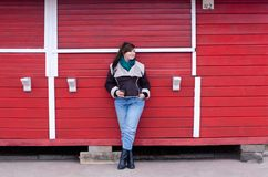 Plus size model in winter look stock photography