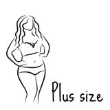 Plus size model woman sketch. Hand drawing style. Fashion logo with overweight. Curvy body icon design. Vector illustration Stock Photo
