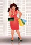 Plus size shopping brunette woman, vector Stock Photos